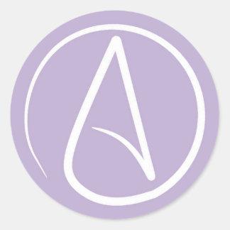 Sticker Rond Symbole athée : blanc sur la lavande