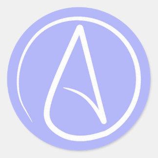 Sticker Rond Symbole athée : blanc sur le bigorneau