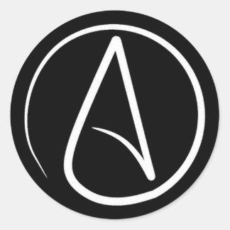 Sticker Rond Symbole athée : blanc sur le noir