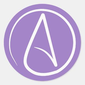 Sticker Rond Symbole athée : blanc sur le pourpre