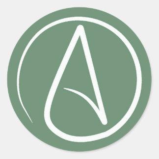 Sticker Rond Symbole athée : blanc sur le vert sauge