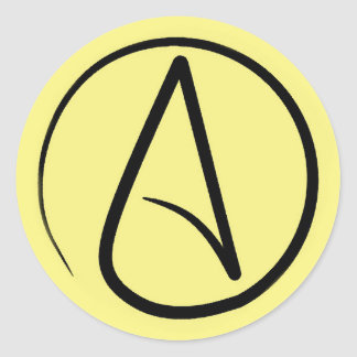 Sticker Rond Symbole athée : noir sur jaune-clair