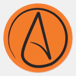 Sticker Rond Symbole athée : noir sur l'orange