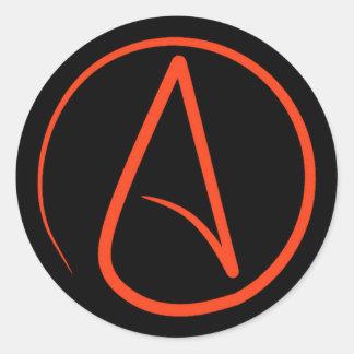 Sticker Rond Symbole athée : orange sur le noir