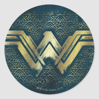 Sticker Rond Symbole balayé d'or de femme de merveille