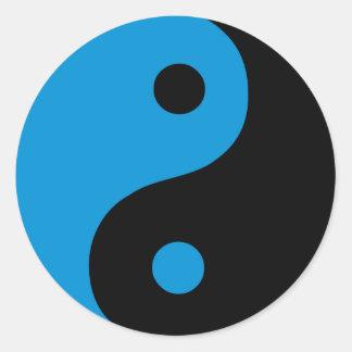 Sticker Rond Symbole bleu de Taoist de Yin Yang