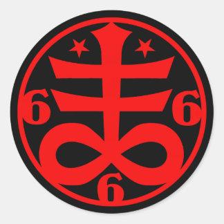 Sticker Rond Symbole croisé satanique occulte de Goth