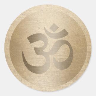 Sticker Rond Symbole de l'OM de cercle d'or de yoga