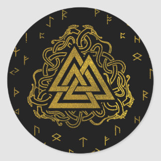 Sticker Rond Symbole de Valknut d'or sur le motif de runes