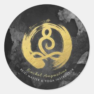 Sticker Rond Symbole de zen de posture de méditation d'or