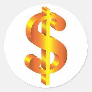 Sticker Rond Symbole dollar d'or