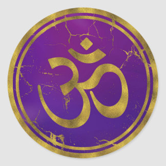 Sticker Rond Symbole d'OM d'or - Aum, Omkara sur le