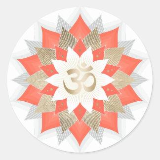Sticker Rond Symbole floral de Lotus Namaste OM d'orange et
