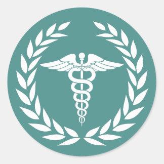 Sticker Rond Symbole médical Teal de caducée de soins