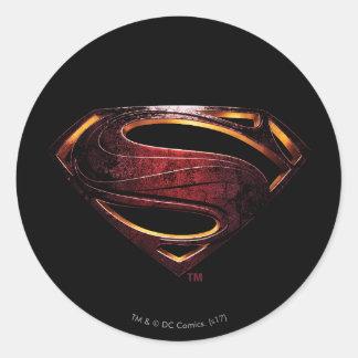 Sticker Rond Symbole métallique de la ligue de justice |