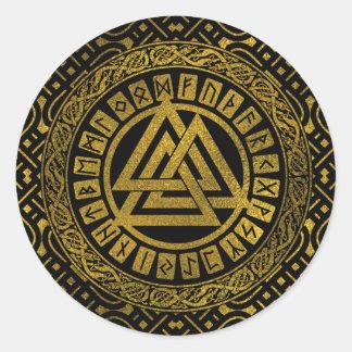 Sticker Rond Symbole métallique de Valknut d'or