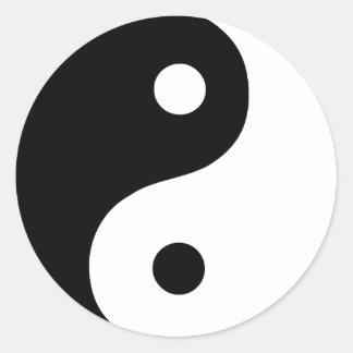 Sticker Rond Symbole noir et blanc de Taoist de Yin Yang