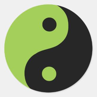 Sticker Rond Symbole vert de Taoist de Yin Yang