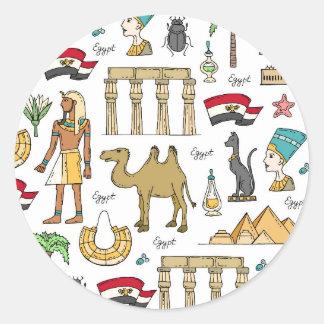 Sticker Rond Symboles de couleur de motif de l'Egypte