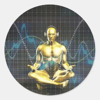 Sticker Rond Système de son de l'avenir avec le jeu d'écouteurs
