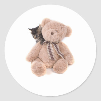 Sticker Rond tabby kittens playing with a teddy bear