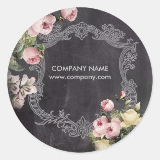 Sticker Rond Tableau floral botanique vintage chic minable