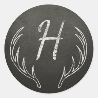 Sticker Rond Tableau noir et blanc de monogramme d'andouillers