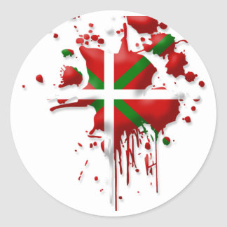Sticker Rond tâche drapeau Basque Euskadi