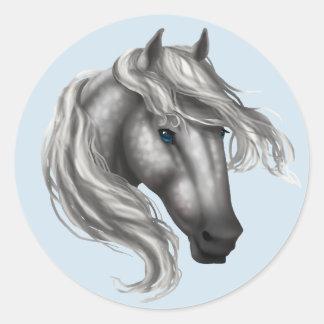 Sticker Rond Tachetez la tête de cheval grise