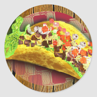 Sticker Rond Taco de pixel