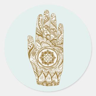 Sticker Rond Tatouage de main de henné avec la fleur de Lotus
