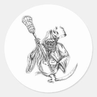Sticker Rond Tatouage de Polonais de la défense de lacrosse de