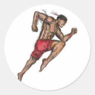 Sticker Rond Tatouage thaïlandais de combattant de boxe de Muay