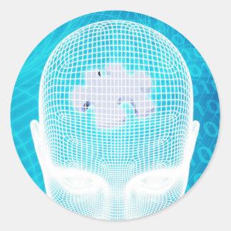 Sticker Rond Technologie futuriste avec la puce d'esprit humain