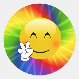 Sticker Rond Teignez en nouant le signe de paix Emoji