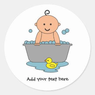Sticker Rond Temps de Bath de bébé