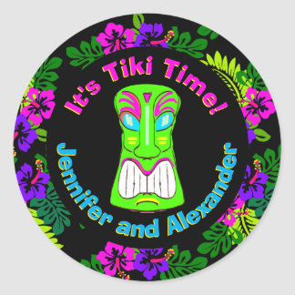 Sticker Rond Temps de Tiki de douche de couples