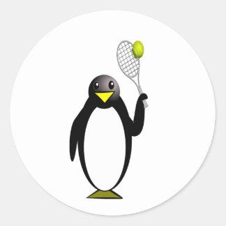 Sticker Rond Tennis de pingouin