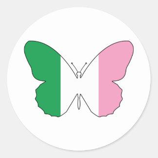 Sticker Rond Terre-Neuve Buttlerfly tricolore