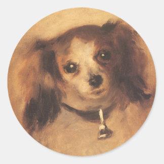 Sticker Rond Tête d'un chien par Pierre Renoir, beaux-arts