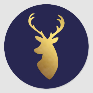 Sticker Rond Tête élégante de cerfs communs de feuille d'or de