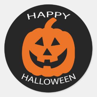 Sticker Rond Texte de courbe de Jack-o'-lantern Halloween