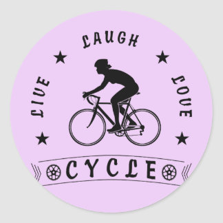 Sticker Rond Texte de Live Laugh Love Cycle de Madame (noir)