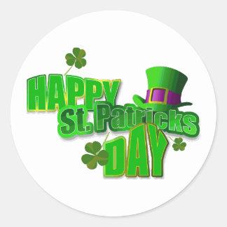 Sticker Rond Texte du jour de St Patrick heureux