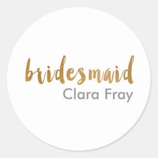 Sticker Rond texte élégant moderne de demoiselle d'honneur d'or