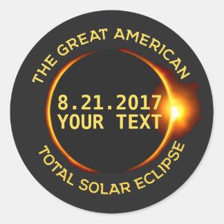 Sticker Rond Texte total de coutume des Etats-Unis de l'éclipse