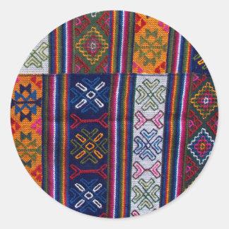 Sticker Rond Textile bhoutanais