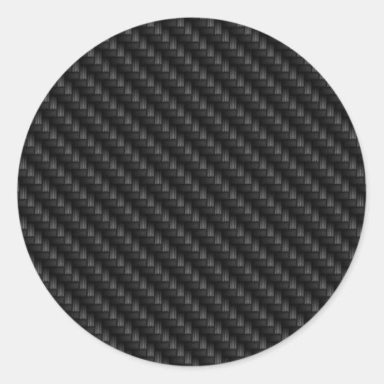 Sticker Rond Texture Etroitement Tissee De Fibre De Carbone De Zazzle Fr
