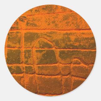 Sticker Rond Texture orange patinée