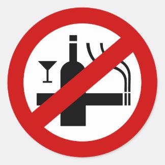 Sticker Rond ⚠ thaïlandais de signe de ⚠ non-fumeurs d'alcool